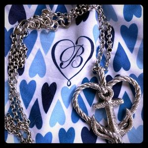 Silver Anchor and Heart Necklace.